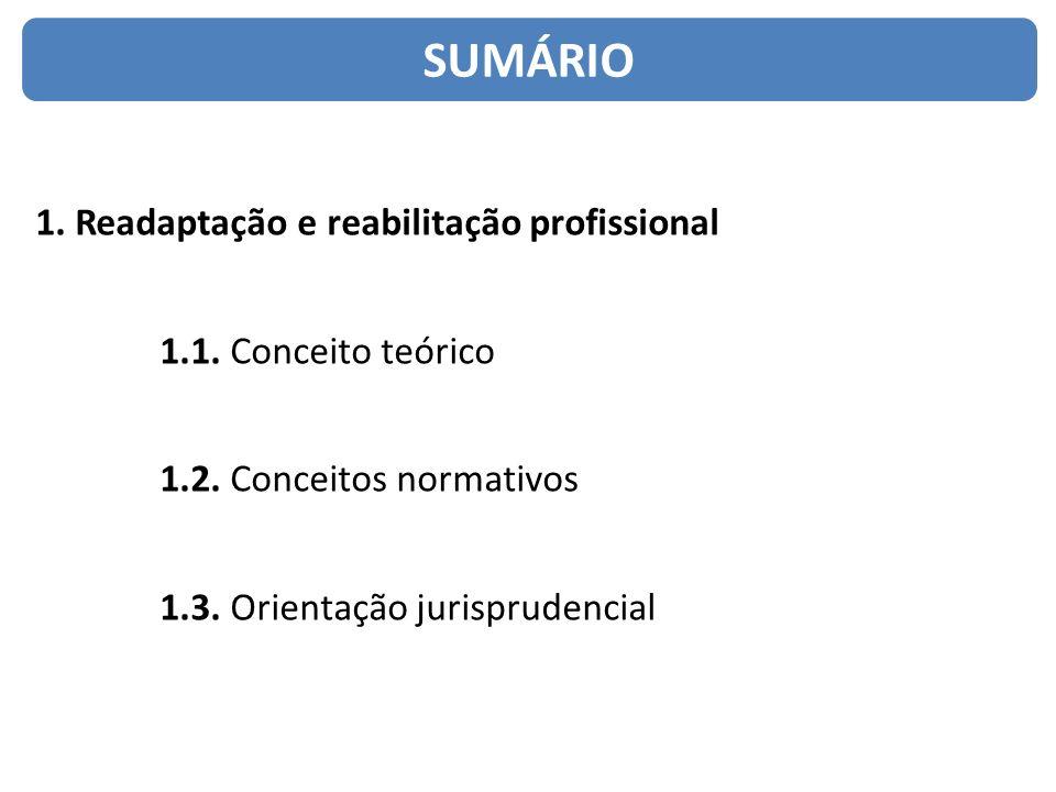 1. Readaptação e reabilitação profissional 1.1. Conceito teórico 1.2. Conceitos normativos 1.3. Orientação jurisprudencial SUMÁRIO