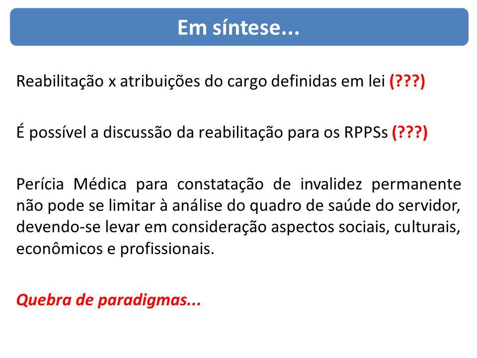 Em síntese... Reabilitação x atribuições do cargo definidas em lei (???) É possível a discussão da reabilitação para os RPPSs (???) Perícia Médica par