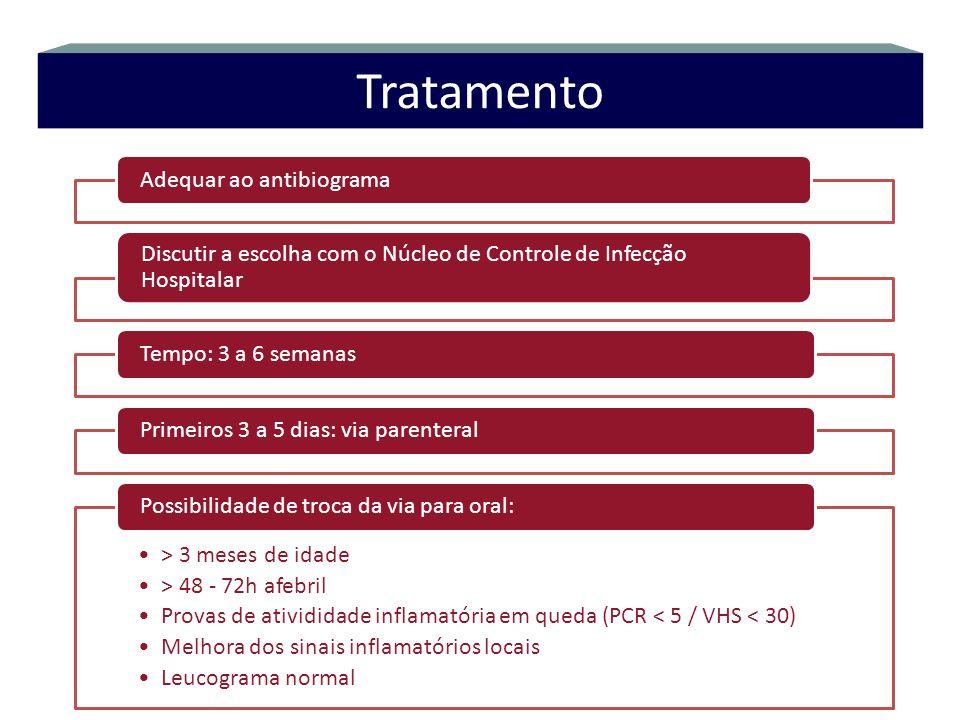 Adequar ao antibiograma Discutir a escolha com o Núcleo de Controle de Infecção Hospitalar Tempo: 3 a 6 semanas Primeiros 3 a 5 dias: via parenteral >