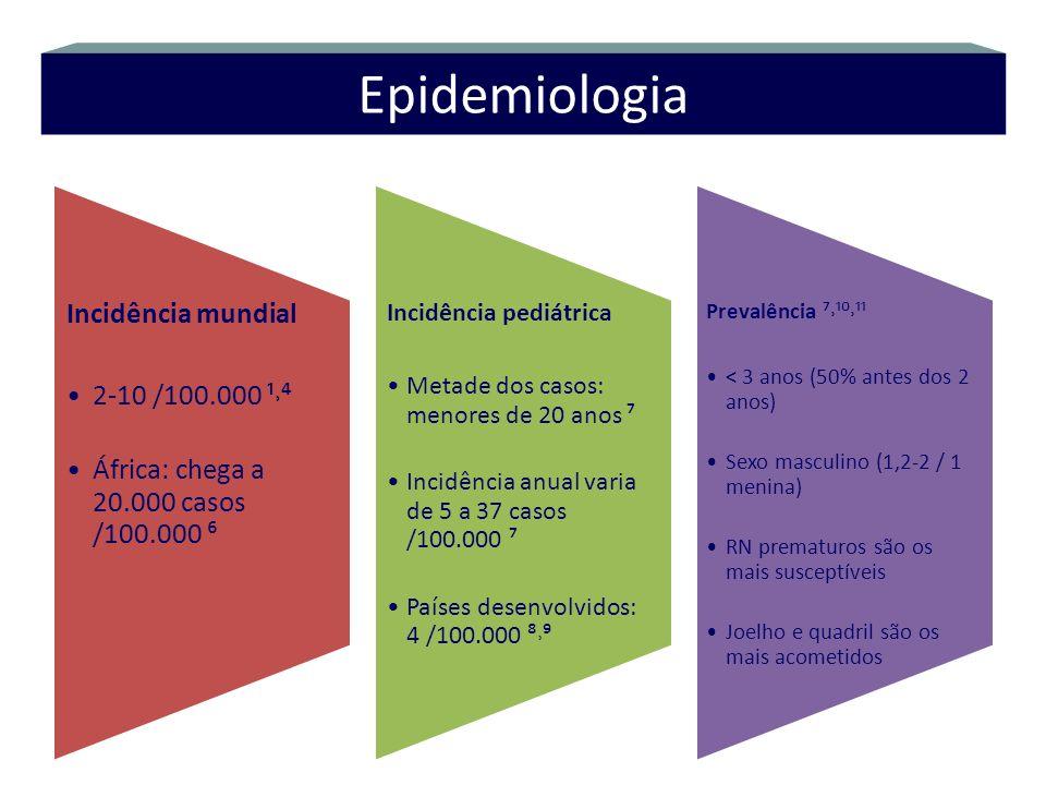 Incidência mundial 2-10 /100.000 ¹˒ África: chega a 20.000 casos /100.000 Incidência pediátrica Metade dos casos: menores de 20 anos Incidência anual