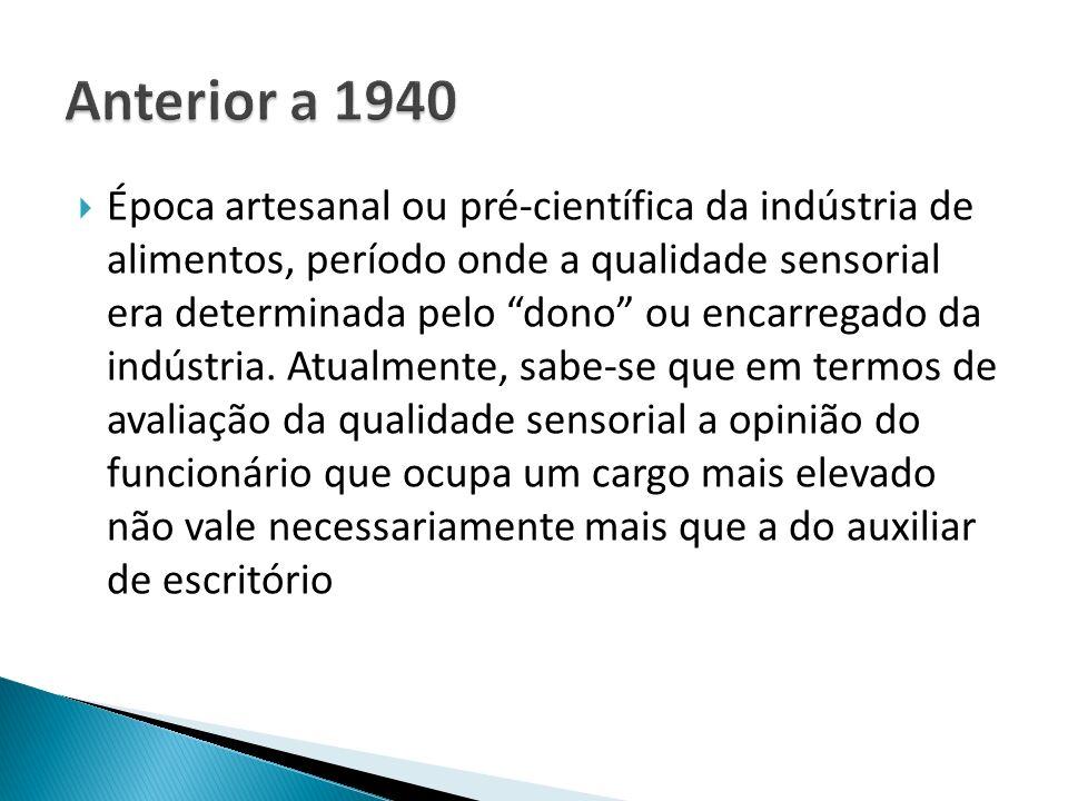 Época artesanal ou pré-científica da indústria de alimentos e incorporação de pessoal técnico, geralmente vindo de outras áreas, como área de química e farmacêutica.