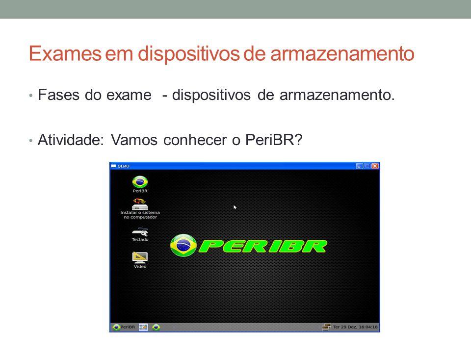 Exames em dispositivos de armazenamento Fases do exame - dispositivos de armazenamento. Atividade: Vamos conhecer o PeriBR?