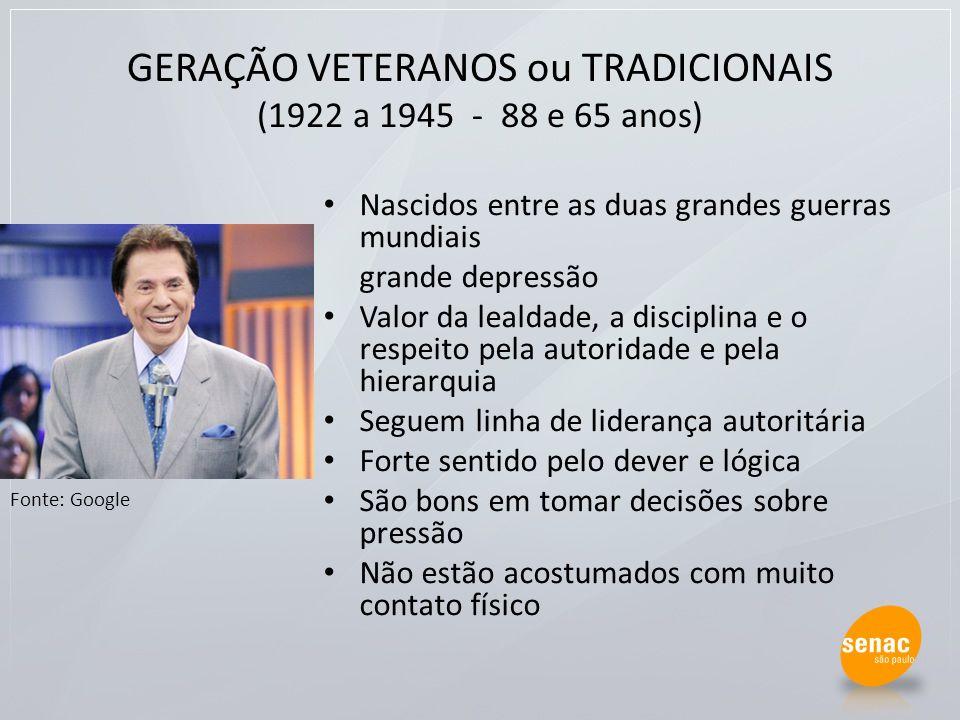 GERAÇÃO VETERANOS ou TRADICIONAIS (1922 a 1945 - 88 e 65 anos) Nascidos entre as duas grandes guerras mundiais grande depressão Valor da lealdade, a d