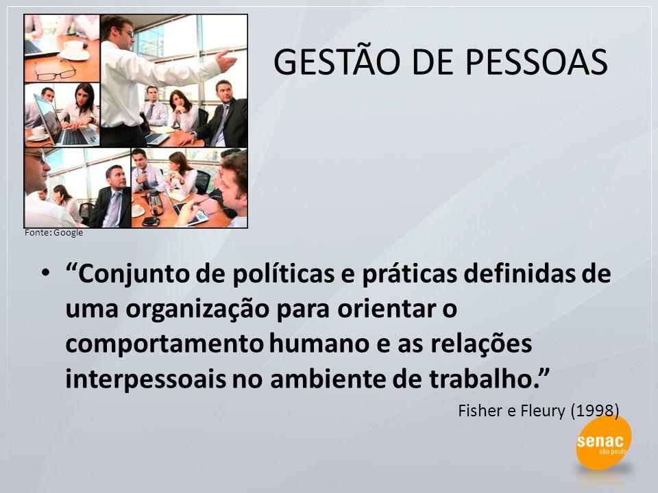 GESTÃO DE PESSOAS Conjunto de políticas e práticas definidas de uma organização para orientar o comportamento humano e as relações interpessoais no am