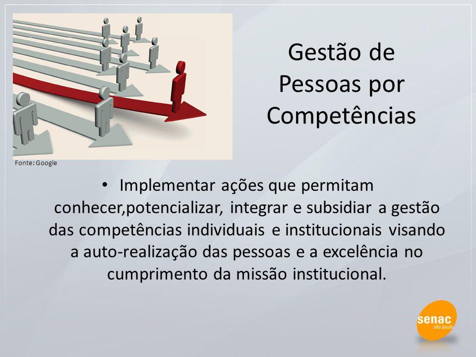 Gestão de Pessoas por Competências Implementar ações que permitam conhecer,potencializar, integrar e subsidiar a gestão das competências individuais e