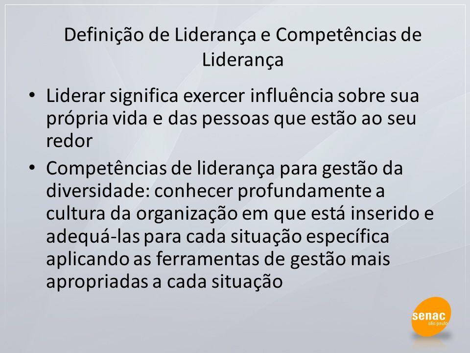 Definição de Liderança e Competências de Liderança Liderar significa exercer influência sobre sua própria vida e das pessoas que estão ao seu redor Co