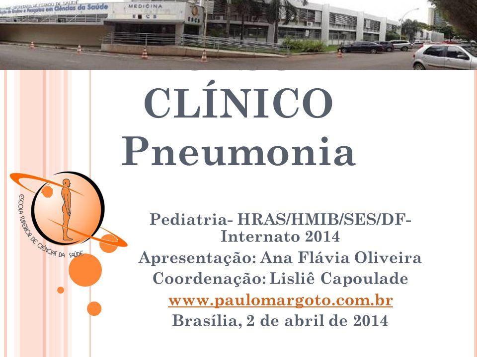 Q UADRO C LÍNICO Em uma revisão retrospectiva de 254 crianças e adultos jovens (idade <1 mês a 26 anos) com pneumonia pneumocócica (confirmado por sangue ou cultura do líquido pleural), os sinais e sintomas mais comuns e suas freqüências aproximadas : Febre: 90 %(duração média três dias antes do diagnóstico) Tosse: 70 %; Tosse produtiva: 10 % Taquipnéia: 50 % Mal-estar / letargia: 45 % Vômito: 43 % Hipoxemia (saturação de oxigênio 95 por cento): 50 % Diminuição sons respiratórios: 55 % Creptos: 40 % Retrações : 30 % Sibilos: 25 % Dor abdominal: 20 % Dor Peito: 10 %