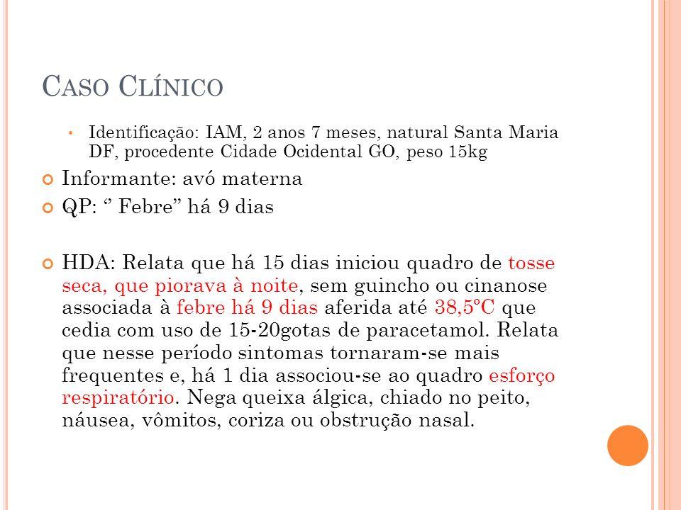 Conduta: Penicilina Cristalina- 500 000 UI de 4/4h (200.000 UI/Kg/dia) Hidratação venosa Dipirona O2 sob cateter nasal- 1L/min