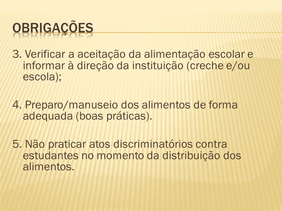 3. Verificar a aceitação da alimentação escolar e informar à direção da instituição (creche e/ou escola); 4. Preparo/manuseio dos alimentos de forma a