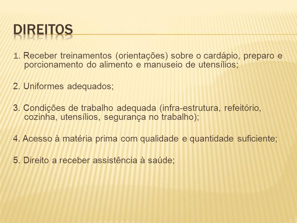1. Receber treinamentos (orientações) sobre o cardápio, preparo e porcionamento do alimento e manuseio de utensílios; 2. Uniformes adequados; 3. Condi
