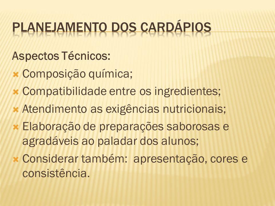 Aspectos Técnicos: Composição química; Compatibilidade entre os ingredientes; Atendimento as exigências nutricionais; Elaboração de preparações saboro