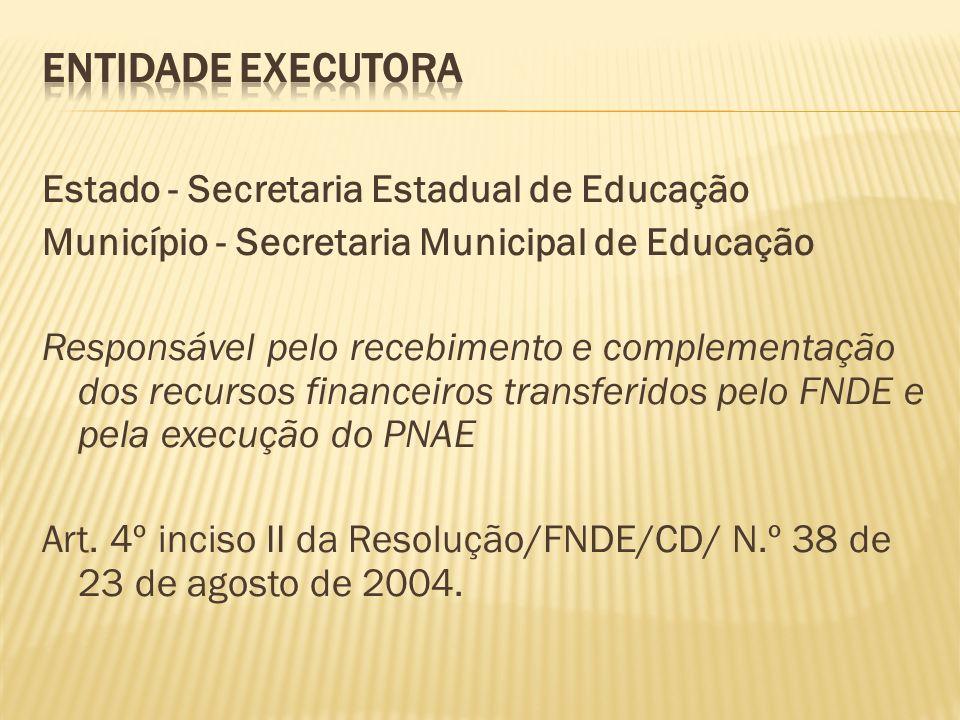 Estado - Secretaria Estadual de Educação Município - Secretaria Municipal de Educação Responsável pelo recebimento e complementação dos recursos finan