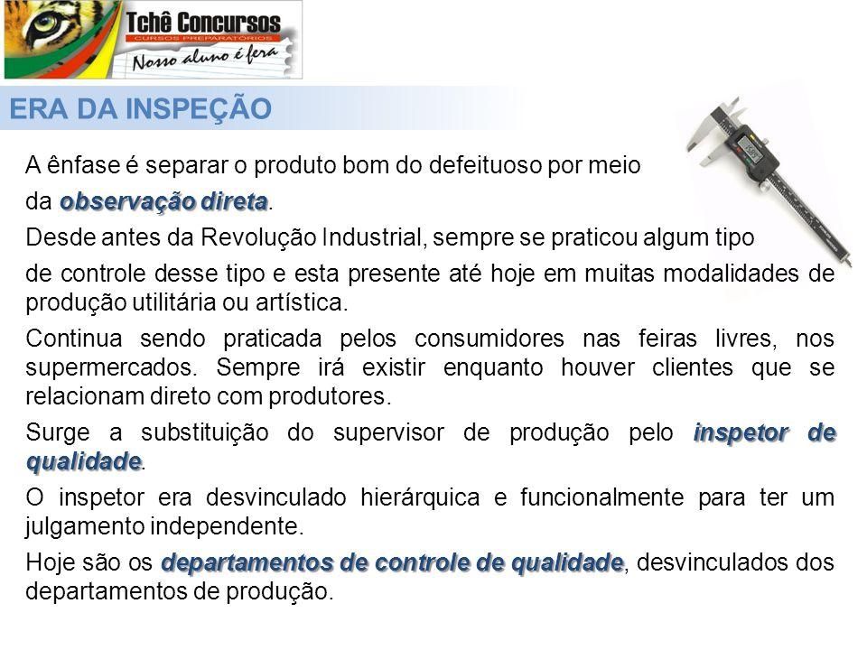 ERA DA INSPEÇÃO A ênfase é separar o produto bom do defeituoso por meio observação direta da observação direta.