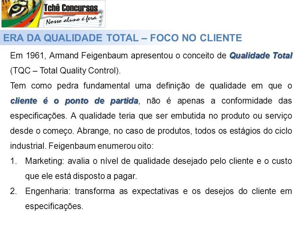 ERA DA QUALIDADE TOTAL – FOCO NO CLIENTE Qualidade Total Em 1961, Armand Feigenbaum apresentou o conceito de Qualidade Total (TQC – Total Quality Cont