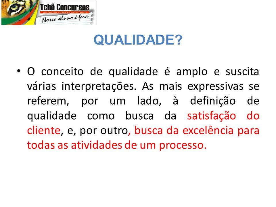 O conceito de qualidade é amplo e suscita várias interpretações.