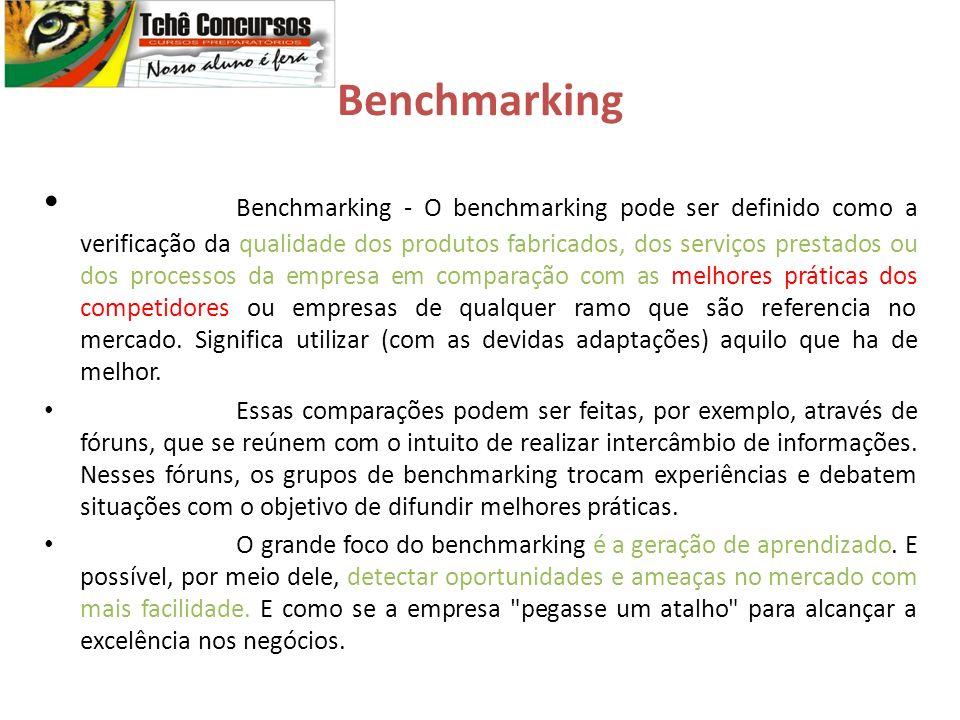 Benchmarking Benchmarking - O benchmarking pode ser definido como a verificação da qualidade dos produtos fabricados, dos serviços prestados ou dos processos da empresa em comparação com as melhores práticas dos competidores ou empresas de qualquer ramo que são referencia no mercado.