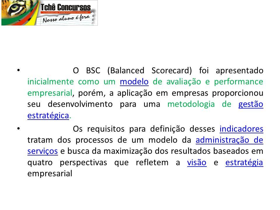 O BSC (Balanced Scorecard) foi apresentado inicialmente como um modelo de avaliação e performance empresarial, porém, a aplicação em empresas proporci