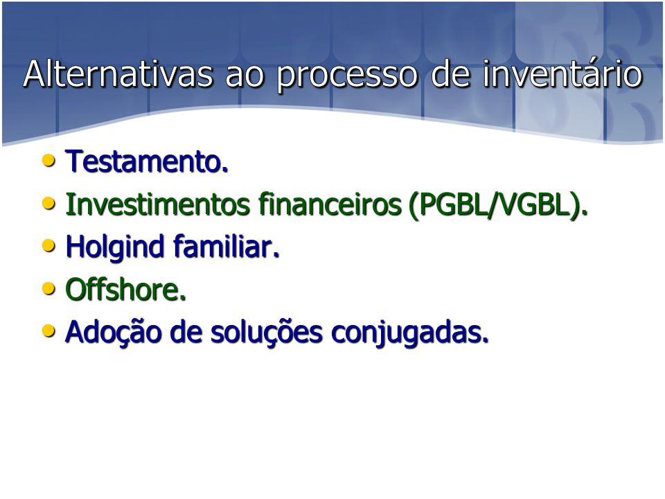Testamento.Testamento. Investimentos financeiros (PGBL/VGBL).
