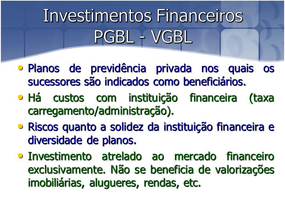 Planos de previdência privada nos quais os sucessores são indicados como beneficiários.