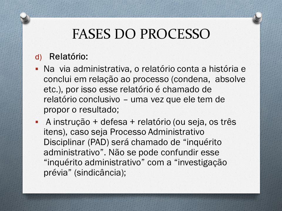 FASES DO PROCESSO d) Relatório: Na via administrativa, o relatório conta a história e conclui em relação ao processo (condena, absolve etc.), por isso