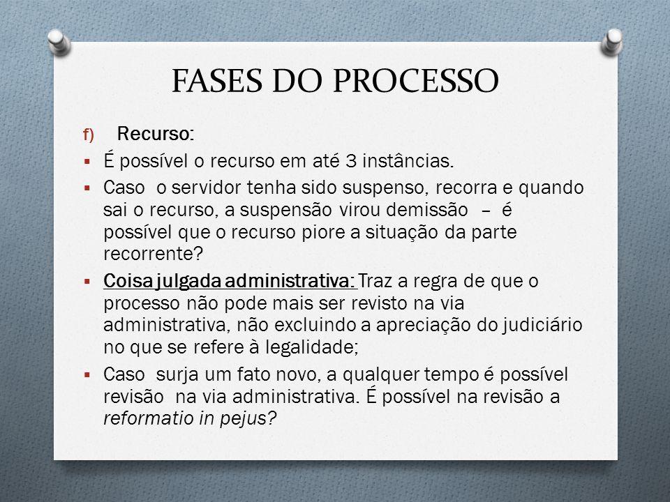 FASES DO PROCESSO f) Recurso: É possível o recurso em até 3 instâncias. Caso o servidor tenha sido suspenso, recorra e quando sai o recurso, a suspens