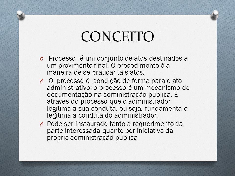 CONCEITO O Processo é um conjunto de atos destinados a um provimento final. O procedimento é a maneira de se praticar tais atos; O O processo é condiç