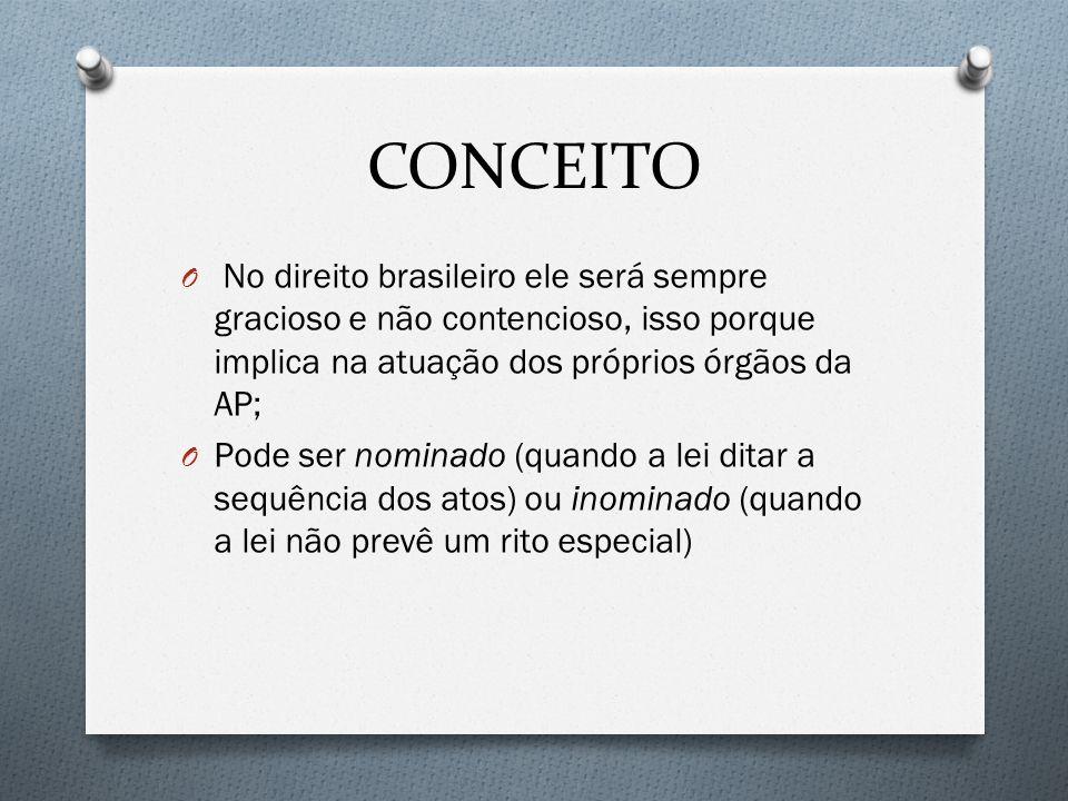 CONCEITO O No direito brasileiro ele será sempre gracioso e não contencioso, isso porque implica na atuação dos próprios órgãos da AP; O Pode ser nomi