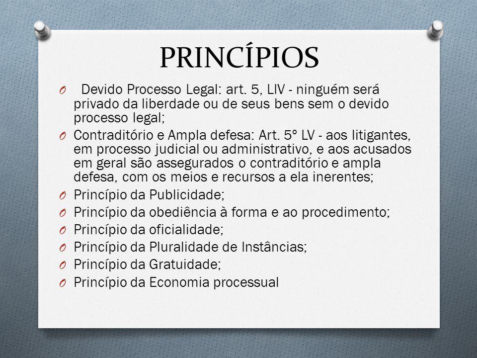 PRINCÍPIOS O Devido Processo Legal: art. 5, LIV - ninguém será privado da liberdade ou de seus bens sem o devido processo legal; O Contraditório e Amp