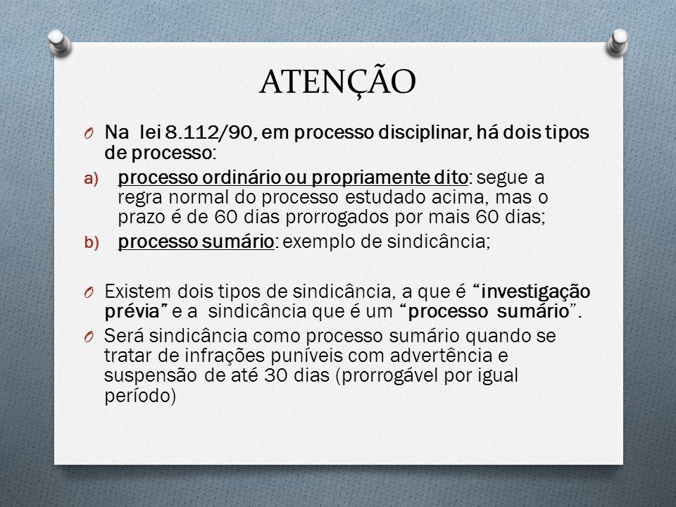 ATENÇÃO O Na lei 8.112/90, em processo disciplinar, há dois tipos de processo: a) processo ordinário ou propriamente dito: segue a regra normal do pro