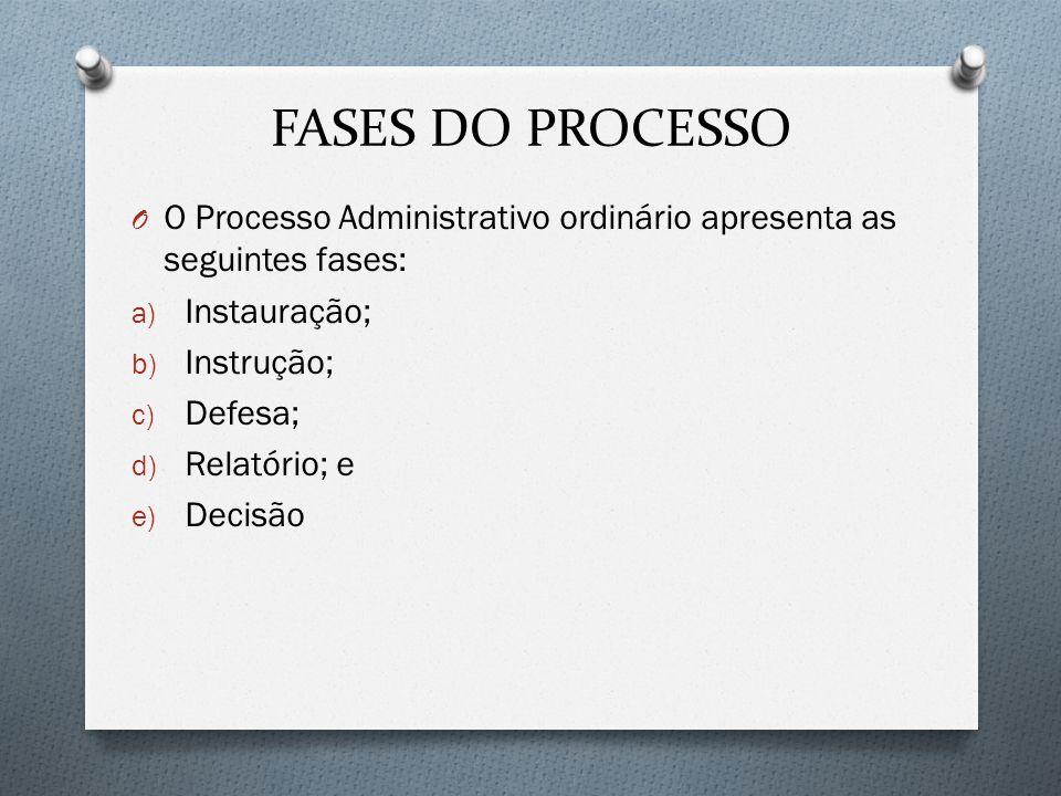 FASES DO PROCESSO O O Processo Administrativo ordinário apresenta as seguintes fases: a) Instauração; b) Instrução; c) Defesa; d) Relatório; e e) Deci