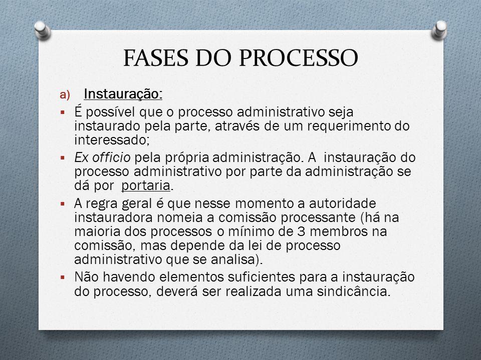 FASES DO PROCESSO a) Instauração: É possível que o processo administrativo seja instaurado pela parte, através de um requerimento do interessado; Ex o