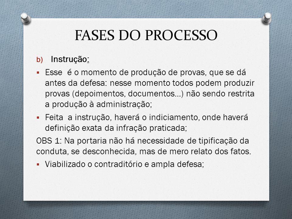 FASES DO PROCESSO b) Instrução: Esse é o momento de produção de provas, que se dá antes da defesa: nesse momento todos podem produzir provas (depoimen