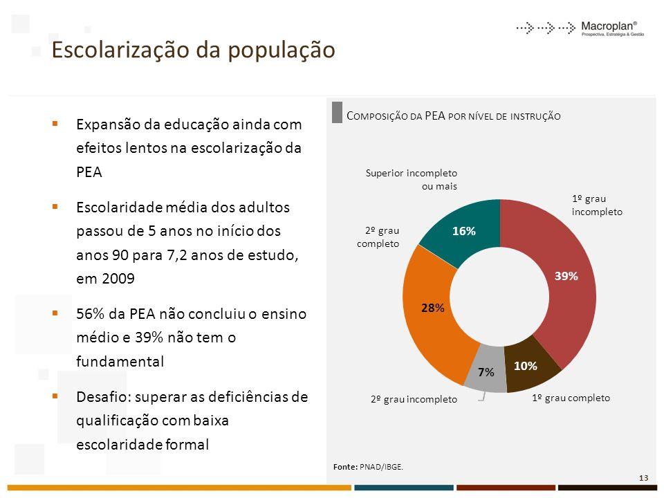 C OMPOSIÇÃO DA PEA POR NÍVEL DE INSTRUÇÃO Escolarização da população Expansão da educação ainda com efeitos lentos na escolarização da PEA Escolaridade média dos adultos passou de 5 anos no início dos anos 90 para 7,2 anos de estudo, em 2009 56% da PEA não concluiu o ensino médio e 39% não tem o fundamental Desafio: superar as deficiências de qualificação com baixa escolaridade formal Fonte: PNAD/IBGE.