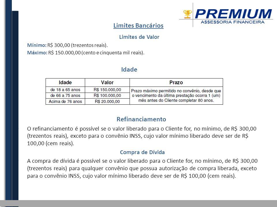 Limites Bancários Limites de Valor Mínimo: R$ 300,00 (trezentos reais).