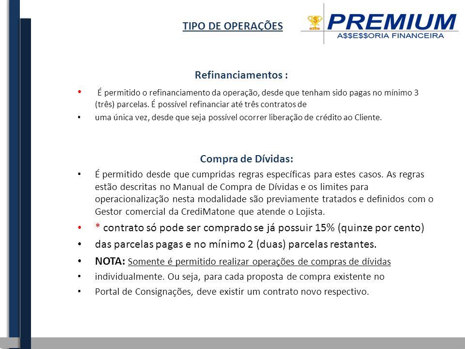 TIPO DE OPERAÇÕES Refinanciamentos : É permitido o refinanciamento da operação, desde que tenham sido pagas no mínimo 3 (três) parcelas. É possível re