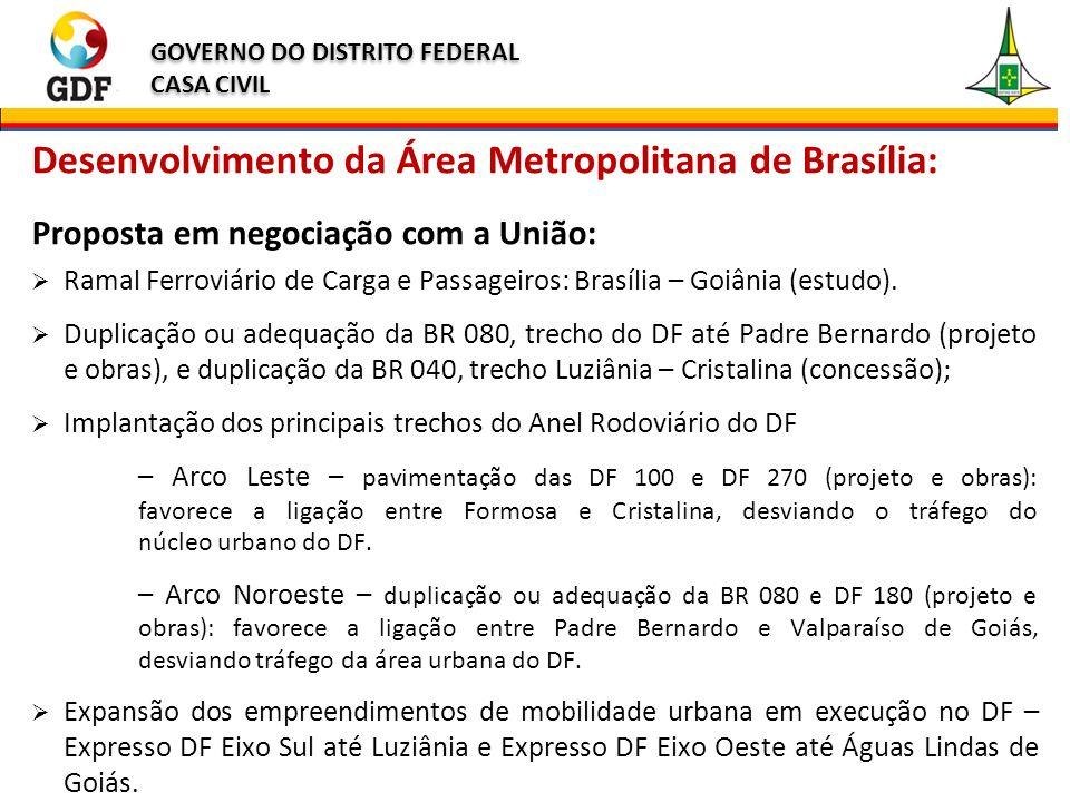 GOVERNO DO DISTRITO FEDERAL CASA CIVIL GOVERNO DO DISTRITO FEDERAL CASA CIVIL Desenvolvimento da Área Metropolitana de Brasília: Proposta em negociação com a União: Ramal Ferroviário de Carga e Passageiros: Brasília – Goiânia (estudo).