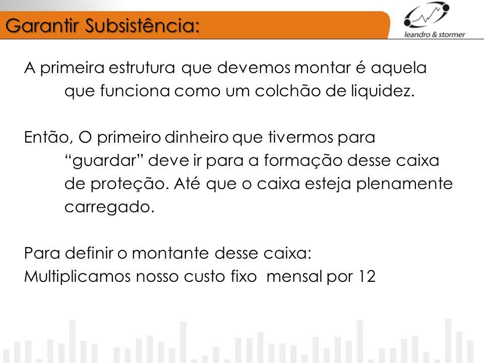 Garantir Subsistência: A primeira estrutura que devemos montar é aquela que funciona como um colchão de liquidez. Então, O primeiro dinheiro que tiver