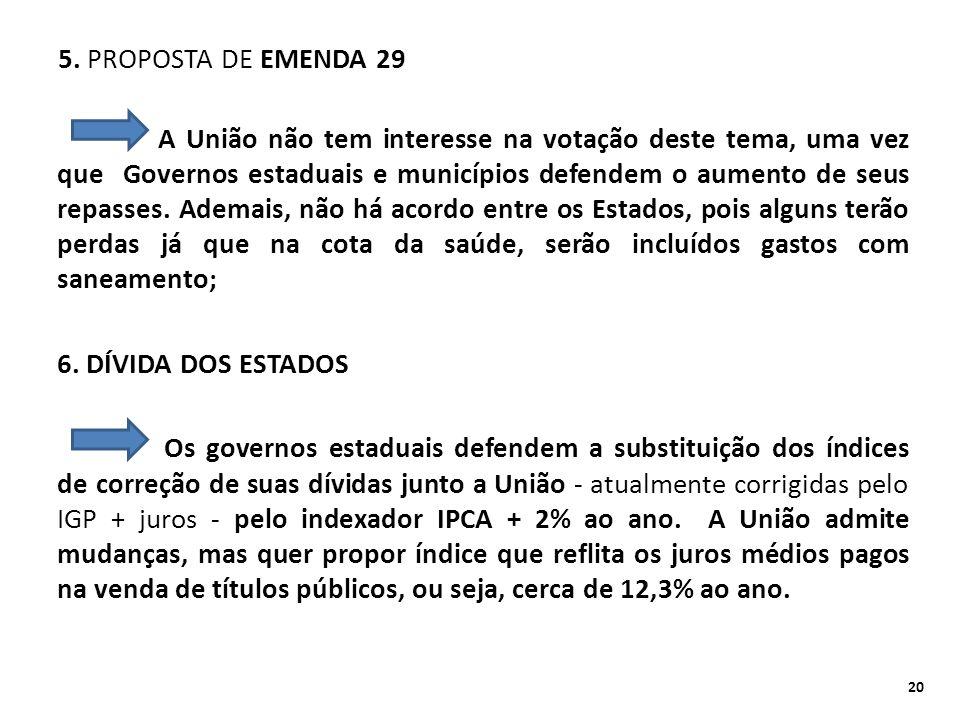 5. PROPOSTA DE EMENDA 29 A União não tem interesse na votação deste tema, uma vez que Governos estaduais e municípios defendem o aumento de seus repas