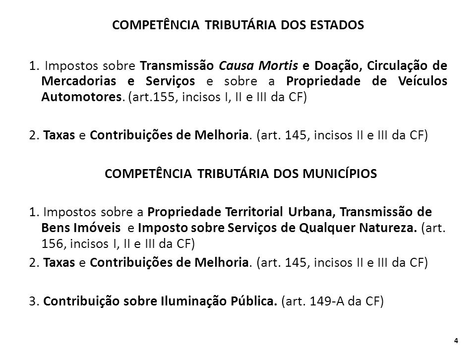 COMPETÊNCIA TRIBUTÁRIA DOS ESTADOS 1. Impostos sobre Transmissão Causa Mortis e Doação, Circulação de Mercadorias e Serviços e sobre a Propriedade de