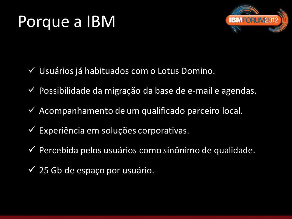 Porque a IBM Usuários já habituados com o Lotus Domino.