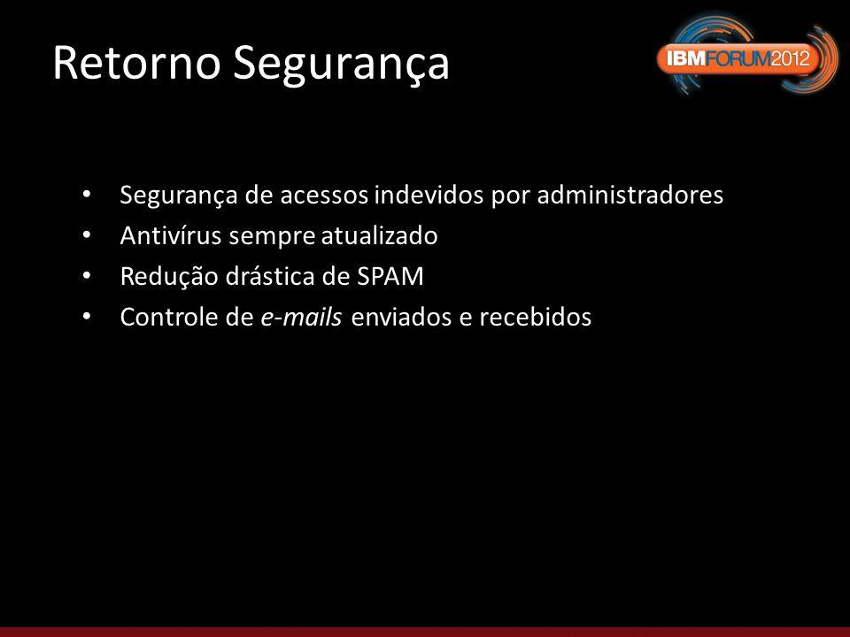 Retorno Segurança Segurança de acessos indevidos por administradores Antivírus sempre atualizado Redução drástica de SPAM Controle de e-mails enviados e recebidos