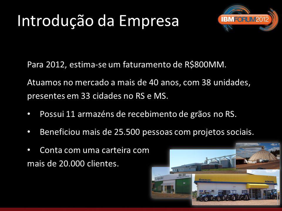 Para 2012, estima-se um faturamento de R$800MM.