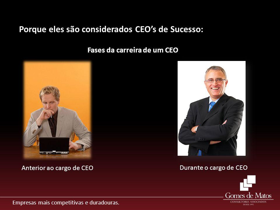 Empresas mais competitivas e duradouras. Porque eles são considerados CEOs de Sucesso: Fases da carreira de um CEO Anterior ao cargo de CEO Durante o