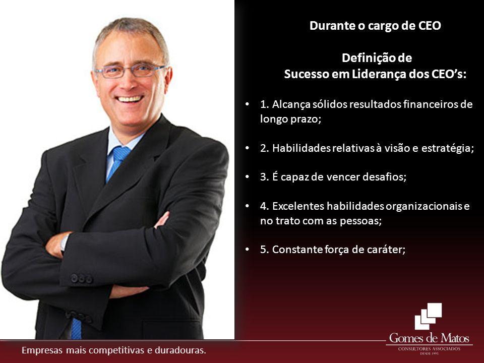 Empresas mais competitivas e duradouras. 1. Alcança sólidos resultados financeiros de longo prazo; 2. Habilidades relativas à visão e estratégia; 3. É