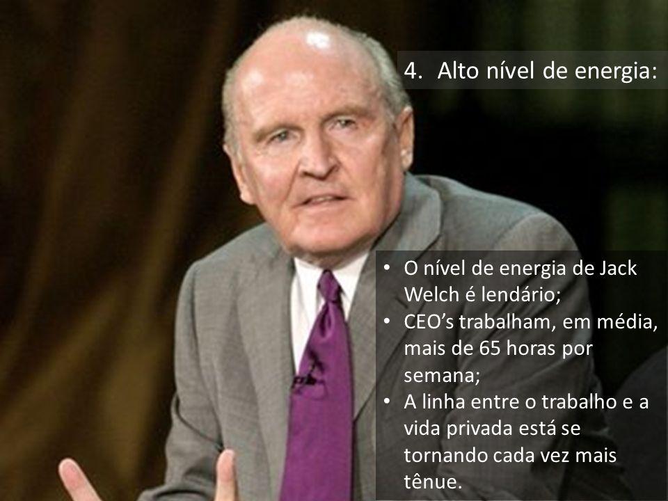 Empresas mais competitivas e duradouras. 4.Alto nível de energia: O nível de energia de Jack Welch é lendário; CEOs trabalham, em média, mais de 65 ho