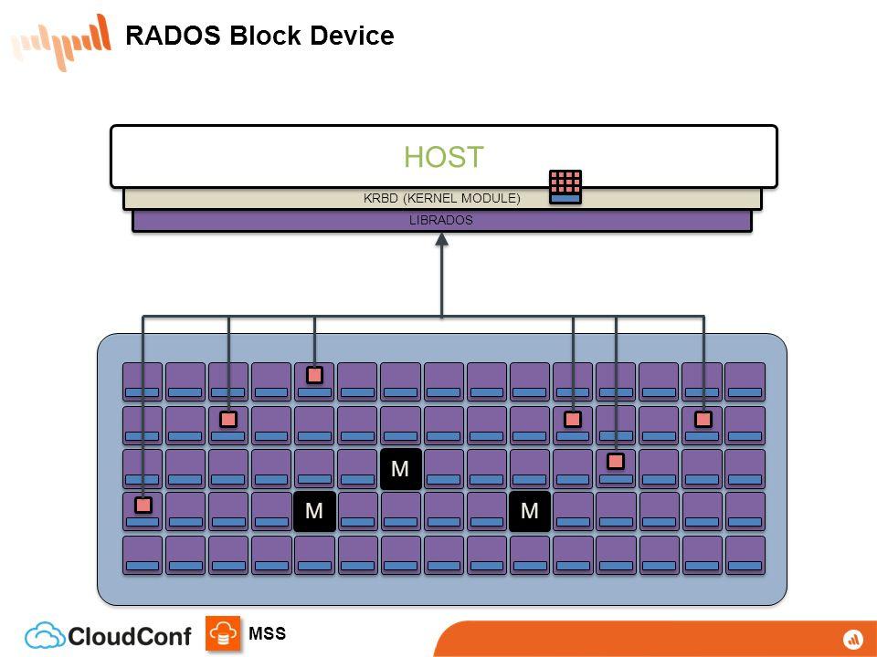 MSS LIBRADOS M M M M M M KRBD (KERNEL MODULE) HOST RADOS Block Device