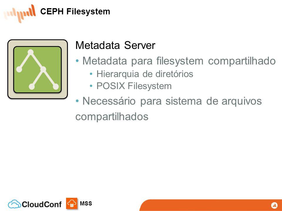 MSS Metadata Server Metadata para filesystem compartilhado Hierarquia de diretórios POSIX Filesystem Necessário para sistema de arquivos compartilhados CEPH Filesystem