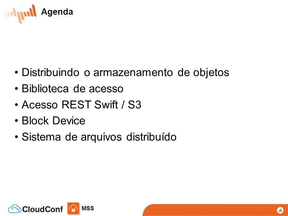 MSS Distribuindo o armazenamento de objetos Biblioteca de acesso Acesso REST Swift / S3 Block Device Sistema de arquivos distribuído Agenda