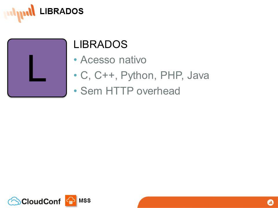 MSS RADOS Sistema autônomo de auto-gestão para armazenamento distribuído de objetos RADOS Sistema autônomo de auto-gestão para armazenamento distribuído de objetos LIBRADOS Biblioteca para acesso direto com suporte a C, C++, Java, Python, Ruby, e PHP LIBRADOS Biblioteca para acesso direto com suporte a C, C++, Java, Python, Ruby, e PHP RBD Block device com suporte no Kernel Linux e drivers para QEMU/KVM RBD Block device com suporte no Kernel Linux e drivers para QEMU/KVM CEPH FS Sistema de arquivos distribuído com suporte no Kernel Linux CEPH FS Sistema de arquivos distribuído com suporte no Kernel Linux RADOSGW REST gateway, compatível com S3 e Swift RADOSGW REST gateway, compatível com S3 e Swift APP HOST/VM CLIENT RADOS Gateway