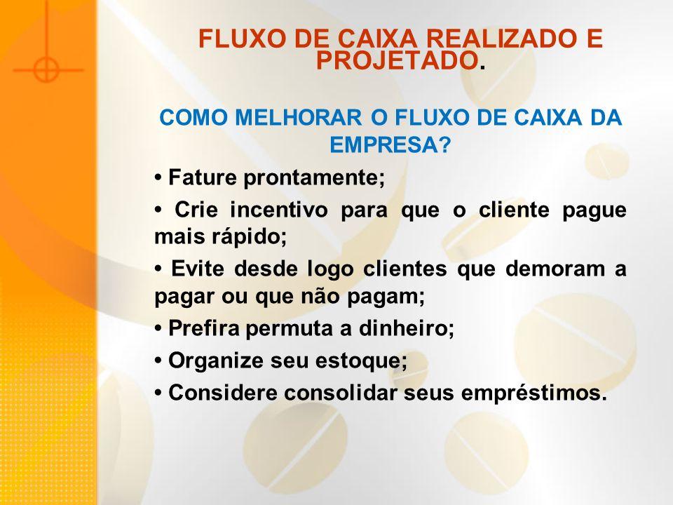 FLUXO DE CAIXA REALIZADO E PROJETADO.COMO MELHORAR O FLUXO DE CAIXA DA EMPRESA.